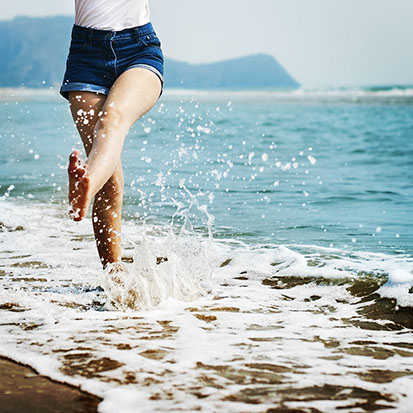 Meer, Füsse, Freude, Freiheit